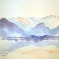 Dusk, Derwentwater Watercolour