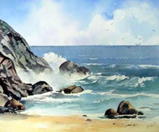 Learn to paint waves in watercolour
