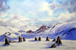 Castlerigg Stone Circle painted in watercolours
