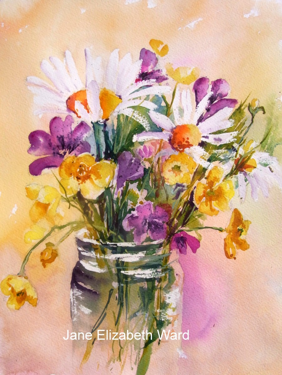 Daisies and Buttercups in Watercolour