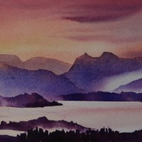 Langdale Sunset Original Watercolour
