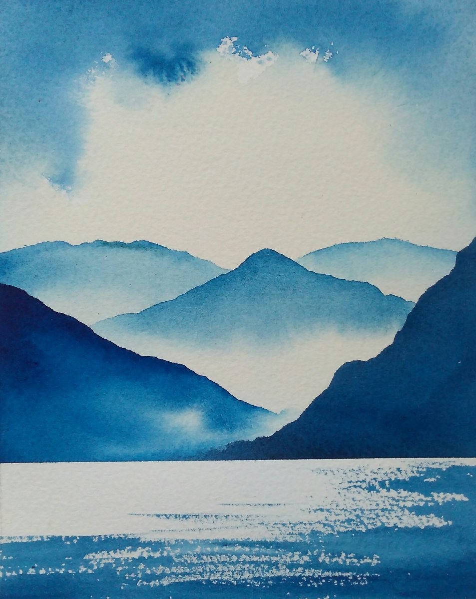 Ullswater Blues Original watercolour painting